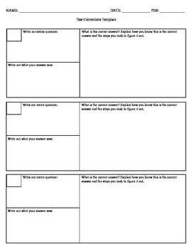 test corrections template  ms agius teachers pay teachers