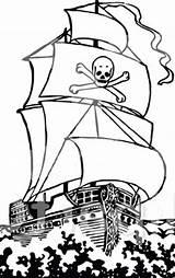 Ship Pirate Coloring Ocean Galleon Raging sketch template