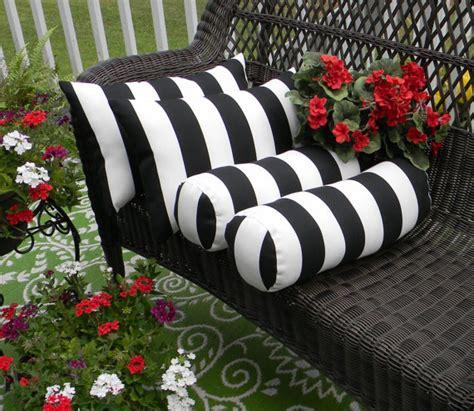 set of 4 black white stripe rectangle neckroll bolster
