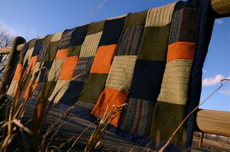 hand crafted upcycled wool sweater blanket  ellalu