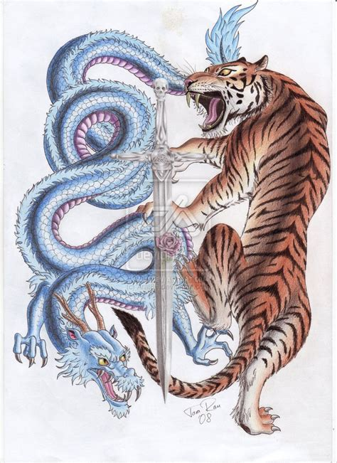 amazing colorful japanese tiger dragon tattoo design