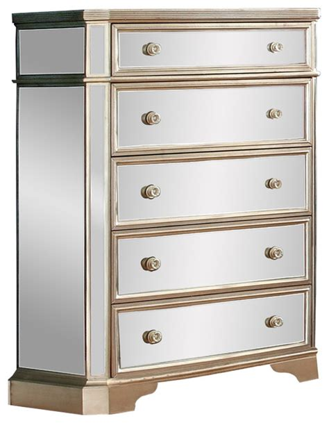 mirrored 5 drawer chest furniture import export inc borghese mirrored 5 7532