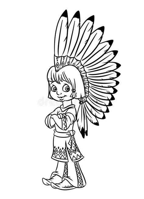 indian chief boy illustration coloring pages stock