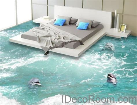 3 dophins play in the water sea ocean 00009 floor decals 3d wallpaper idecoroom