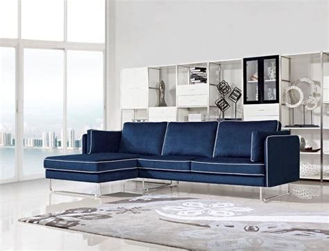 Blue Sofa White Piping by Contemporary Blue Fabric Sectional Sofa With White Piping