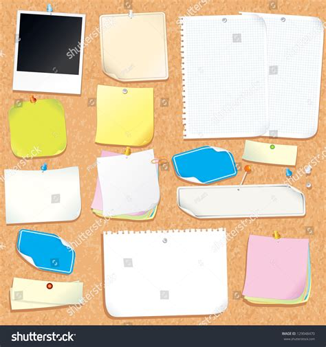 office cork board blank notes stickers stock vector