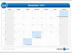 December 1974 Calendar
