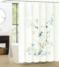 Tahari Home Curtains Blue by Tahari Cotton Blend Shower Curtain Sprigs Leaves Blue