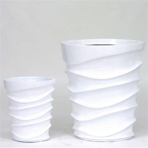 vaso bianco vaso wave laccato bianco arredo giardino