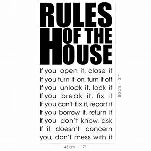 Wall Decal House Rules - Vinyl Wall Stickers