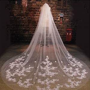 cathedral wedding veil with comb 3m long lace mantilla With long veil wedding dresses