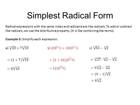 how to do simple radical form properties of rational exponents and radicals ppt video