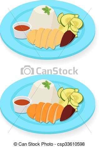 hainanese chicken rice  flat style vector