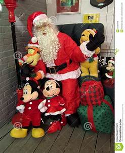 Santa Claus And Mickey Mouse Editorial Stock Photo - Image