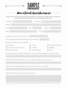 photographer new client questionnaire photography new With new customer questionnaire template