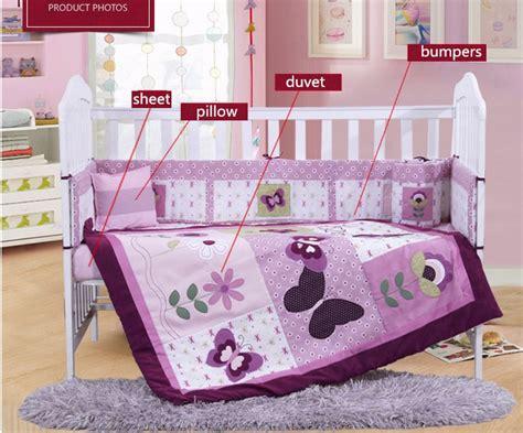 cheap crib bedding sets 4pcs purple baby bed bumper baby crib bedding