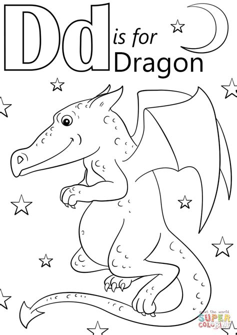 Letter D is for Dragon coloring page Free Printable