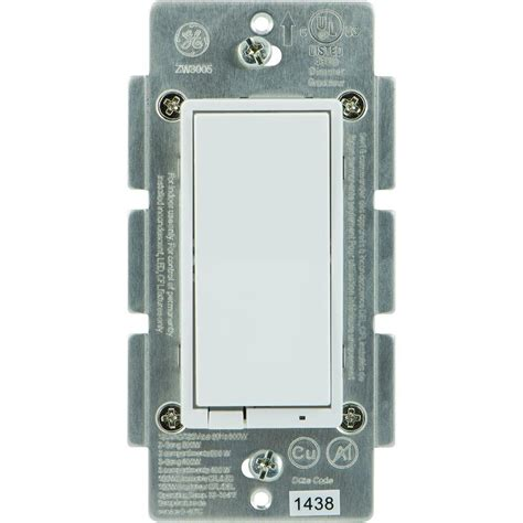 ge z wave 600 watt cfl led indoor in wall dimmer switch