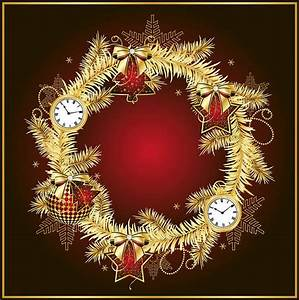 Dark Red Christmas Background with Gold Wreath | Gallery ...