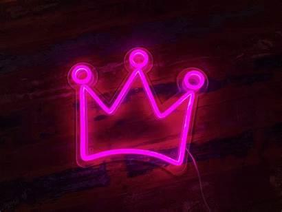 Neon Sign Led Crown Aesthetic Lights Desktop