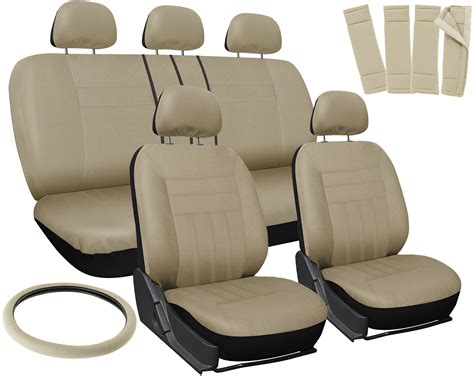 Car Seat Covers Beige 17pc Full Set For Auto W/steering