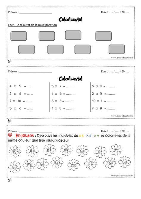 calcul mental tables de multiplication calcul mental cm1 exercice et bilan semaine 29 224 32 pass education