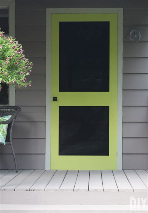 add a punch of color to a porch diy screen door