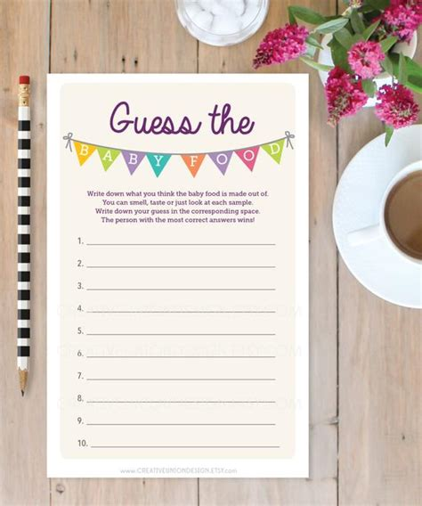 guess  baby food shower game baby shower game print