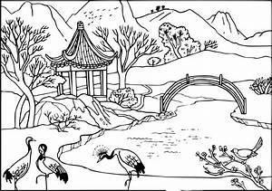 Jardin Dessin Couleur : coloriage jardin de chine imprimer et colorier ~ Melissatoandfro.com Idées de Décoration