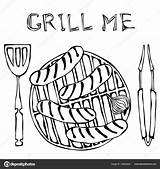 Bbq Drawing Grill Getdrawings sketch template