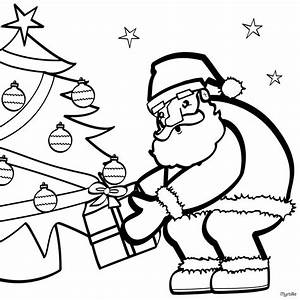 Santa near the christmas tree coloring pages - Hellokids.com