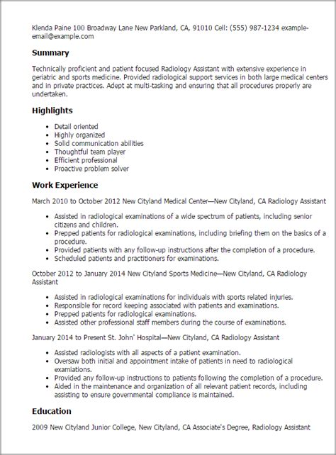 radiology assistant resume templates