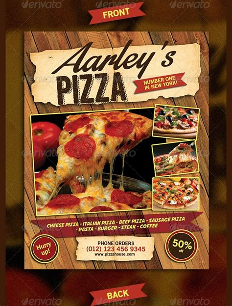 pizza flyer template designs printable psd word