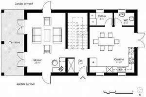 plan maison a etage avec terrasse ooreka With ordinary plan maison etage 100m2 7 plan de maison 100m2 avec sous sol