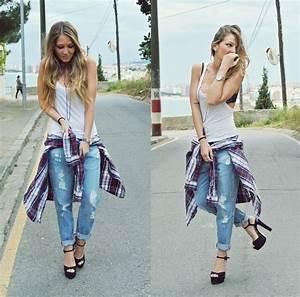 Barbara Ders - Zara Boyfriend Jeans Zara Sandals Pull u0026 Bear Shirt - Boyfriendu0026#39;s Look | LOOKBOOK