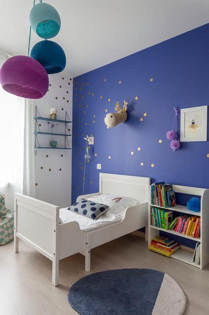chambre enfants fille chambre fille bleu indigo contemporain
