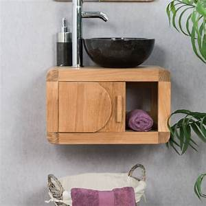meuble sous vasque simple vasque suspendu en bois teck With petit meuble salle de bain teck