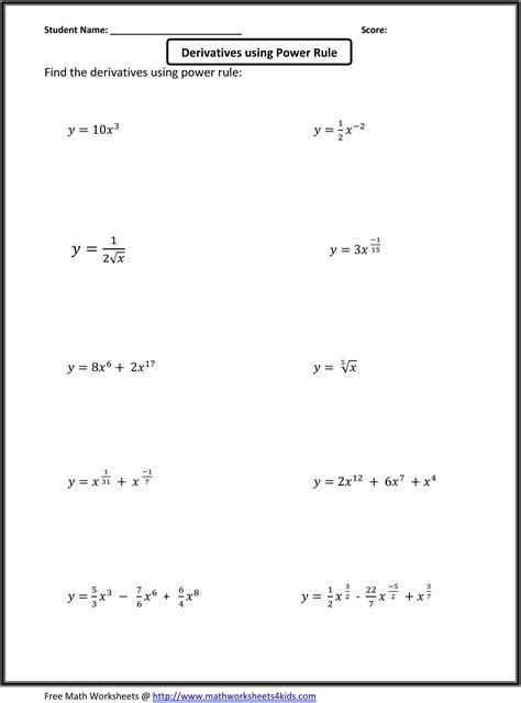 Basic Calculus Worksheets For Higher Grade Students  Teaching, Math (algebra