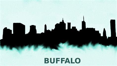 buffalo new york skyline blue painting by enki art