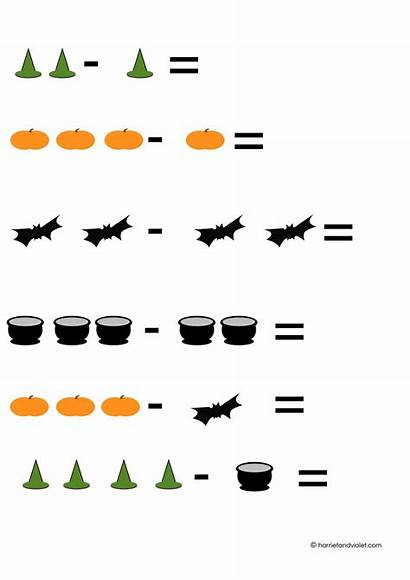 Subtraction Sentences Number Simple Halloween Counting Printable