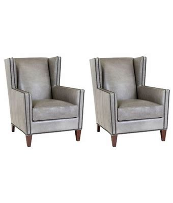 square leather wingback chairs w nailhead trim set of 2
