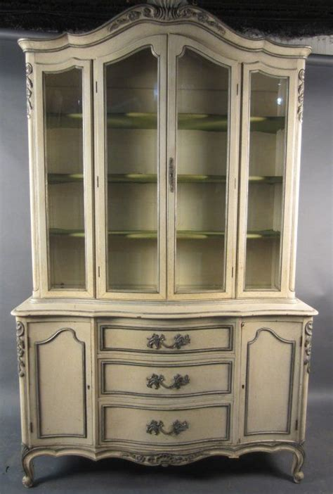 french provincial china cabinet hand painted european hutch hand painted french