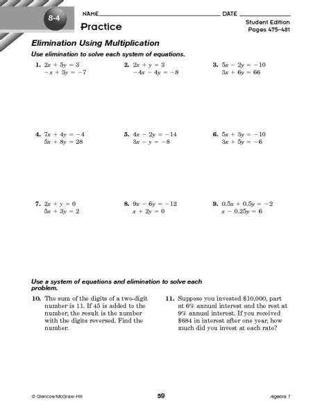 Solving Systems Of Equations By Elimination Worksheet Homeschooldressagecom