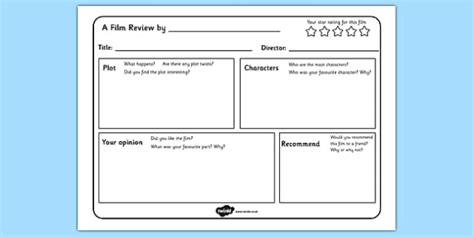 film review writing template english resource twinkl