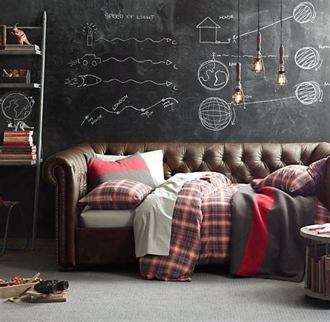 teen boys room chalkboard walls chesterfield daybed