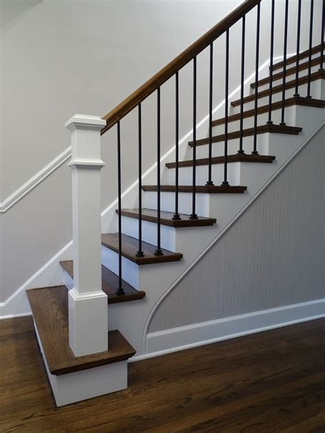 farmhouse modern stairs staircase open houzz end iron newel handrails