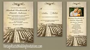 Vineyard wedding invitations vintage rustic wedding for Wedding invitation templates vineyard