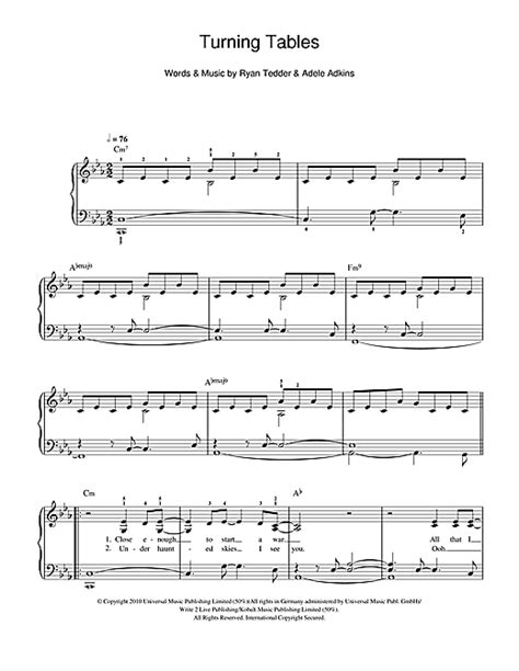 turning tables sheet music turning tables sheet music by adele easy piano 108772