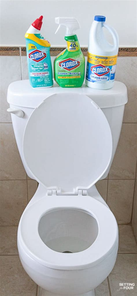 how to clean a toilet how to deep clean your bathroom in 5 steps setting for four