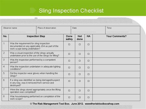 sling inspection form template sling inspection audit checklist